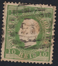 PORTUGAL:1880 King Luis 'Straight Label'  10 reis yellow-green  SG73 used
