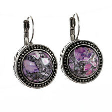 Retro Tibetan Silver Round Flower Purple Turquoise Hoop Stud Earrings