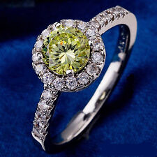 Cubic Zirconia Green 10 KT White Gold Filled Women's Ring Size 8