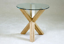 Saturn Round Clear Glass with Solid Oak Legs Lamp Side End Coffee Table