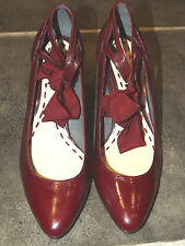 "LADIES NEW RAVEL RED PATENT LEATHER FRONT TIE BOW 3"" HEEL SHOES UK 5 EUR 38"