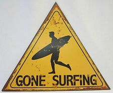 Rustic Country Tin Beach Wall Sign Gone Surfing With Surfer & Surfboard Decor