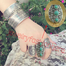 Vintage Three Tibetan Turquoise Stone Silver Carved Adjustable Rings Jewelry HG