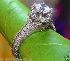 1.53CT ROUND CUT DIAMOND FLORAL SOLITAIRE ENGAGEMENT RING IN STERLING SILVER