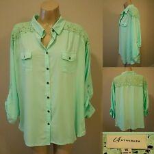 AUTOGRAPH Pastel Mint-Green Button-Up Blouse & Lace Insert - Size 16