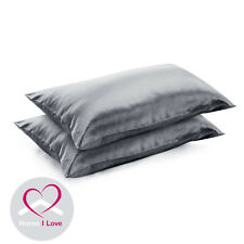 19mm Mulberry Silk Charcoal Pillowcases Set Of 2 Anti Ageing Pamper Skin&Hair