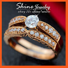 REAL 9CT ROSE GOLD CHANNEL ANNIVERSARY WEDDING DIAMONDS SIMULANT SOLID RING SET