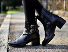 BN Zara Black Leather Pointed Toe Buckle Ankle Boots Blogger 4 37