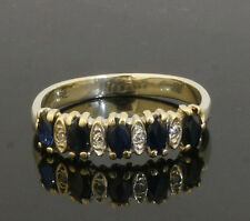 9ct White Gold Marquise Sapphire And Diamond Eternity Ring (Size J 1/2) 4mm Head
