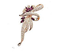 Elegant Gold & Amethyst Violett Schleife Korsage Braut Brosche  BR207
