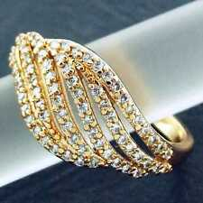 FS854 GENUINE REAL 18K YELLOW G/F GOLD SOLID DIAMOND SIMULATED CLASSIC RING SZ:N