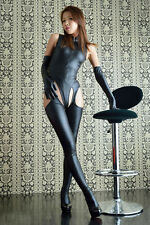 Sexy Women Lingerie Faux Leather Bodysuit Leotard Thong +Pantyhose+Gloves Outfit