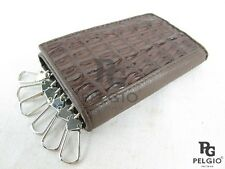 PELGIO Genuine Crocodile Alligator Skin Leather Key Holders Trifold Wallet Brown