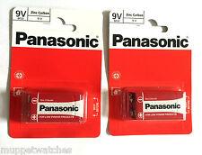 2 x PANASONIC 9V BATTERY MN1604 'Square Block' Smoke Alarm Zinc Carbon Batteries