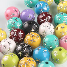 100pcs Wholesale Assorted Colorful Loose Star Round Plastic Spacer Beads 12mm BS