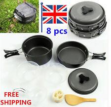 8pcs Outdoor Camping Cooking Set Non-stick Outdoor Cookware Picnic Pot Pan Bowl