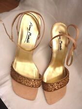 gold bead stiletto heel ankle strap shoes/ sandals Anne Michelle sz 7 worn once