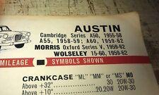 1955 - 1964 AUSTIN Morris Wolseley  CALTEX Australia Lube Chart A50 A60 Oxford