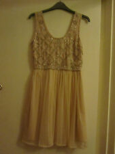 Pink Beaded Miss Selfridge Dress with White Faux Pearls in Size 8