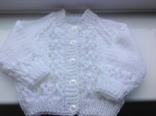 baby hand knitted white unisex cardigan.0-3m.  NEW