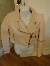 River island beige cropped leather biker jacket...size 12..**bnwt**stunning**