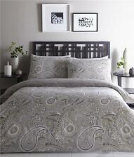 KING SIZE DUVET SET QUILT COVER ETHNIC PAISLEY GREY & TAUPE REVERSIBLE BEDDING