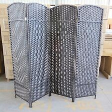 1X Coffee Knitted Room Divider 4 Panels Folding Screen furn-rd17