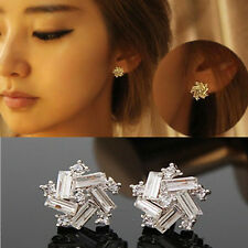 Korean Women Windmill Earrings Fashion Crystal Rhinestone Ear Stud Jewelry Gift