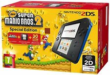 Nintendo Handheld Console 2DS - Black/Blue with New Super Mario Bros 2 Pal NEW!