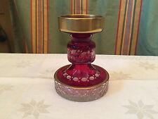 böhmischer Leucher Erwi Hadamar Rot Klar Gold top Teil Kerzenleuchter Kristall