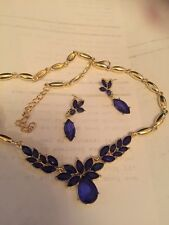 gold earrings and necklace set with blue stones handmade stunning new  2016