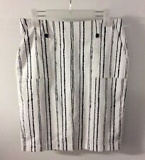 Target Sateen Black and White Stripe Stretch Pencil Skirt Size 10 M New