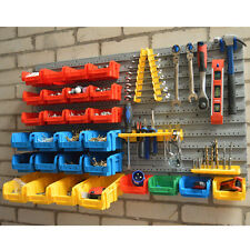 WOLF 43pc Wall Mounted Rack Bins Panel Set Organiser DIY Garage Storage
