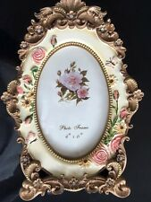 """Ornate Asia Antique Hand Painted Flowers 4"""" x 6"""" Resin Photo Frame 08, UK Seller"""