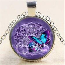 Vintage Fashion Fine Jewellery Women's Celtic Butterfly Glass Cabochon Necklace