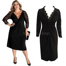 Women Oversize Party Evening Plus Size Long Lace Sleeves V Neck Midi Dress W4A4