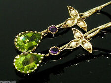CE052 Victorian styled Genuine 9ct Gold Natural Peridot & Amethyst Drop Earrings