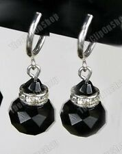 CLIP ON vintage look JET BLACK FACETED GLASS crystal EARRINGS rhinestone silver