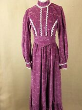 Rare Vintage Early Laura Ashley Dress Deer Fabric Wales Victorian Style Lace