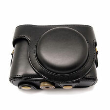 Leather Cover Case Bag Black with Shoulder Strap For Sony HX50 HX50V Camera