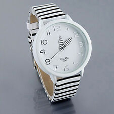 Mens Womens Dial White Black Stripes Leather Band Quartz Analog Wrist Watch