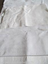 2 alte Leinen Damast Servietten Hohlsaum  weiß, 56 x 37cm, unbenutzt (12)