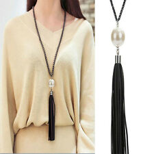Vintage Charm Beads PU Leather Tassels Pendant Black Long Chain Sweater Necklace