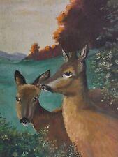 leider unsigniert - Gemälde 1940er Jahre: REH UND REHBOCK AM WALDRAND