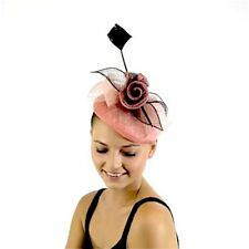 Ladies JENDI Rose Pink & Black Formal Spring Racing Oaks Fascinator Headband