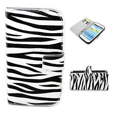Zebra Line Print Leather Wallet Cover Case For Samsung Galaxy Grand Duos i9082
