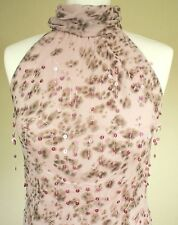 Gharani Strok UK12 Silk Quirky Sleeveless Party Top Blouse Sequin Pink High Neck