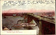 Schiffe ~1910 Hafen Harbour Steam Boat Mississippi Eads Bridge in St. Louis USA