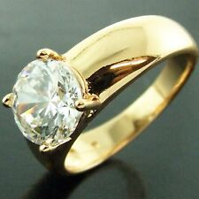 FS436 GENUINE 18K YELLOW G/F GOLD SOLID 1 CT DIAMOND SIMULATED CLAW DRESS RING N