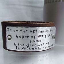 "Handmade Personalised Dr Who ""I am the optimist"" Real Leather Wide Cuff Bracelet"